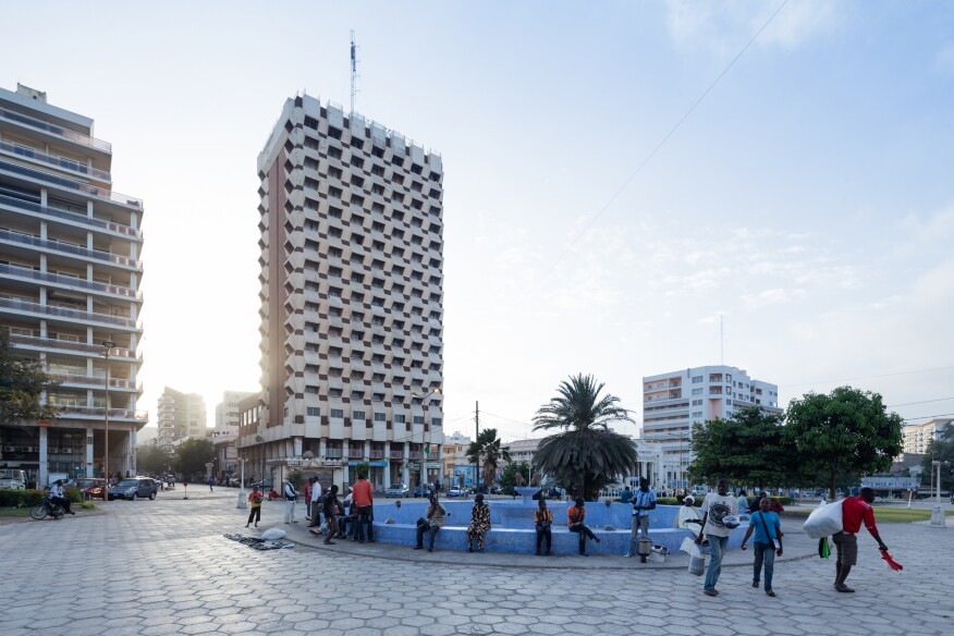 Hotel Independence (1973–78) in Dakar, Senegal, by Henri Chomette and Roland Depret