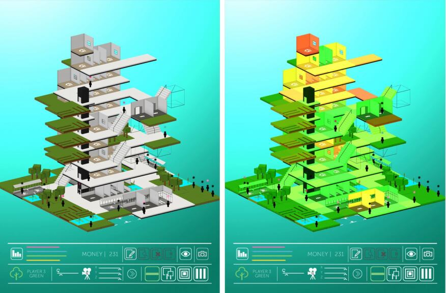 Left: A tower collaboratively built during a game of Block. Right: Analysis of the tower, rooms are colored from green to yellow to red to denote how well they have been placed.