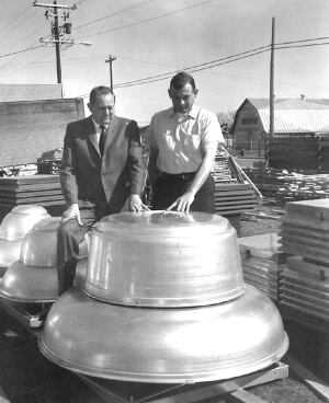 Greenheck founders Bernie Greenheck (left) and Bob Greenheck with a roof ventilator, 1956.