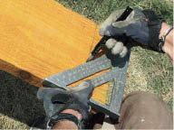 Rather than using a miter saw on long, unwieldy lumber, the author lays out the cuts with a square, which he then also uses to guide straight cuts with a circular saw.