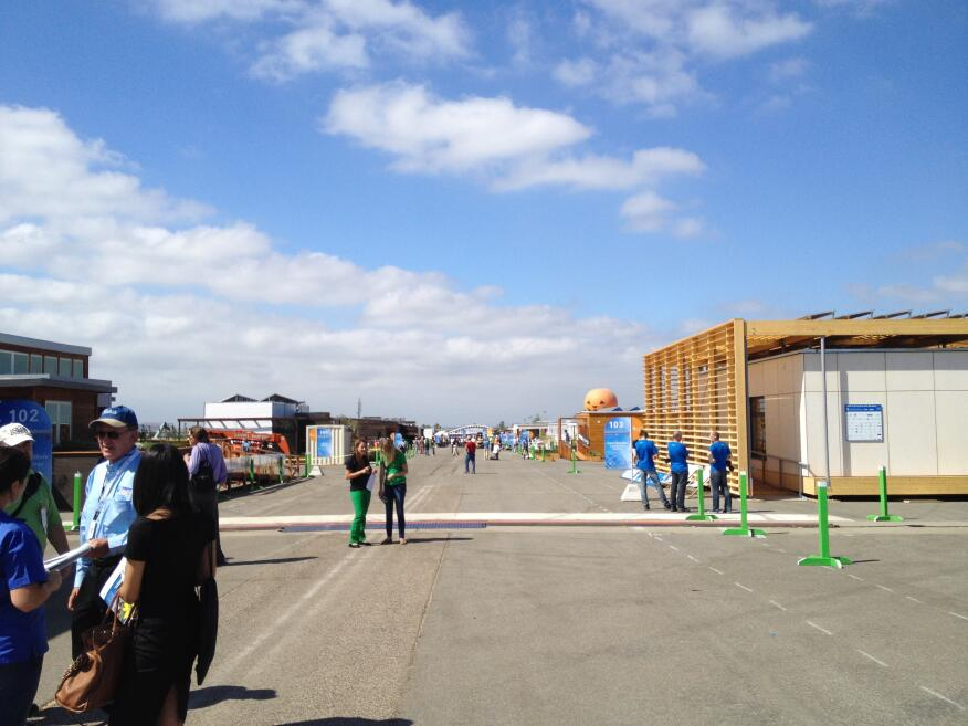 The main avenue through the Solar Decathlon site on media day.