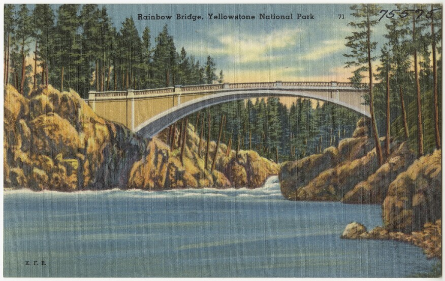 A postcard, issued from 1930 to 1945, depicting the man-made Rainbow Bridge at Yellowstone National Park,