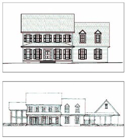 Dennis Wedlick's renderings reveal the shape of the existing typical American  home (top) and a remodeled version (bottom) with an expanded first floor that  better suits boomers' requests for open and generously sized first-floor  rooms.