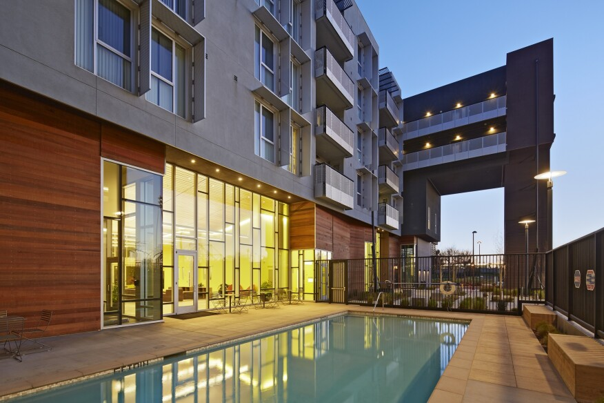 Station Center Family Housing, in Union City, Calif., features amenities appealing to both boomers and their grandchildren, including swimming pools (above) and playgrounds (below).