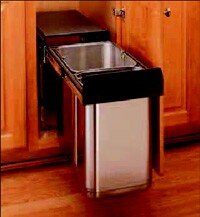 This stainless steel pull-out waste container from Rev-A-Shelf includes one 10-liter and one 20-liter container. It features a covered lid, builtin handles for easy removal, full-extension ball bearing slides, and is available with a door-mountable frame.