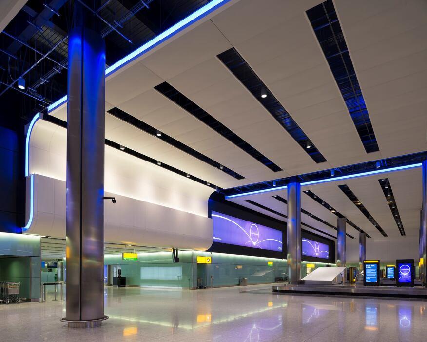 Heathrow Terminal 2, The Queen's Terminal in London by Studiofractal & Hoare Lea Lighting