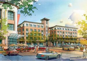 FIRST PHASE. A rendering of The Plaza, a 307-apartment project in northern California whose vertical construction Sares-Regis Group launched in late September. This is part of a redevelopment master plan that will have more than 700 housing units.