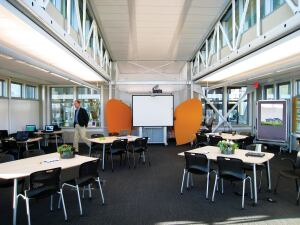 Low-VOC, mold- and allergen-resistant interiors create healthy learning environments for students.