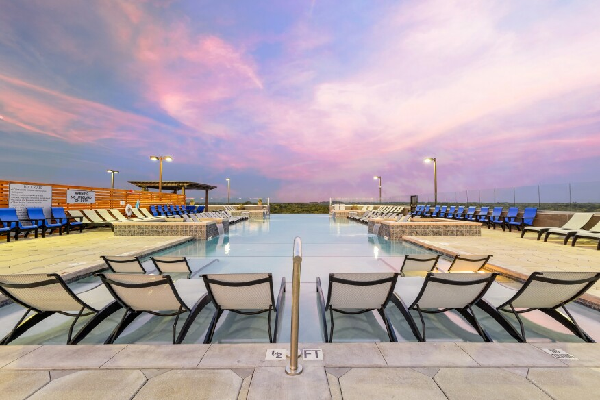 The rooftop infinity pool at The Standard at Athens inAthens, Ga., by Humphreys & Partners Architecture.
