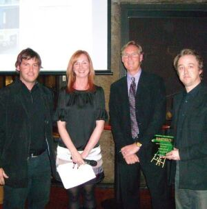 John Reister, Christina Koch, and Award Winners, Kevin nordmeyer and Bruce Fowle