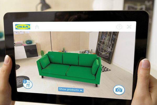 Ikea shoppers who use the home-goods retailer's 2014 mobile product cataloge can view potential purchases to scale in their spaces using a tablet or smart phone.