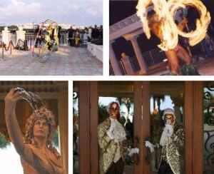 """LITTLE ITALY: To thank residents of its luxury developments, WCI has thrown parties featuring (clockwise from top left) a tumbler, a fire eater, masked greeters, and a """"living fountain."""""""
