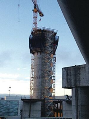 The San Francisco International Airport air traffic control tower, a cast-in-place concrete core, used custom-engineered, pre-assembled crane-set formwork.