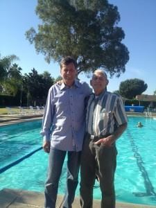 Legendary pool: Clark Gelhaus, founder of Solar Swim & Gym (right) is joined by nephew Phil Gelhaus, who chairs FPSIE and is active in CPSA. (Photo courtesy Solar Swim & Gym)