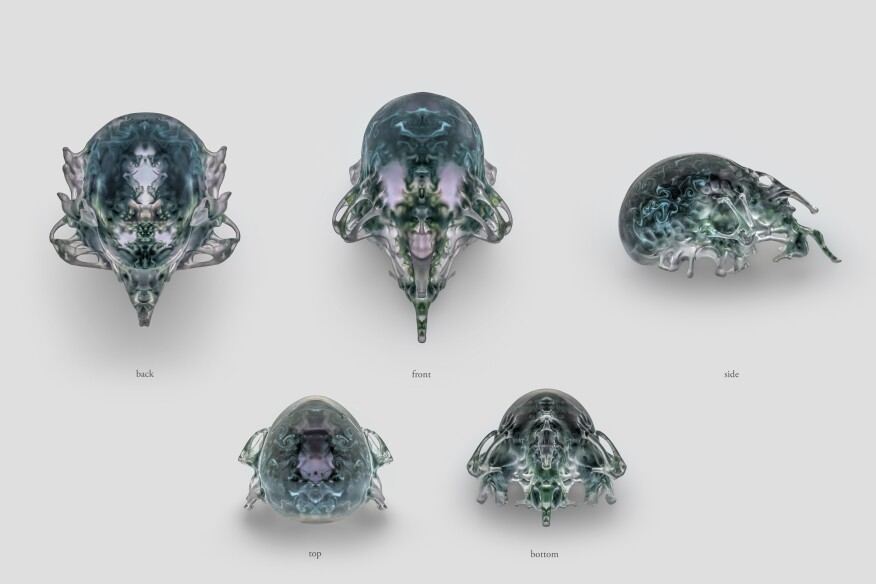 Compilation of views, Mask 4, Vespers collection, Present series. Designed by Neri Oxman and members of the Mediated Matter Group and 3D printed by Stratasys.