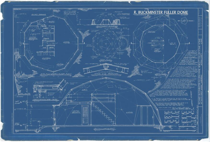 Section, plan, and detail drawings, Richard Buckminster Fuller & Anne Hewlett Fuller Dome Home. This 2011 drawing won the Holland Prize, sponsored by the Library of Congress and the Heritage Documentation Programs at the National Park Service. Copies are available for purchase by RBF Dome NFP; all proceeds go to the project's restoration.
