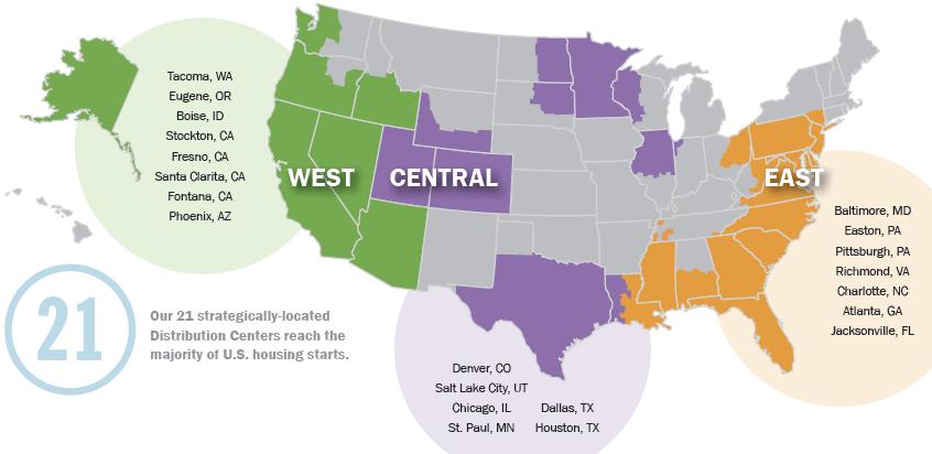 Weyerhaeuser Distribution's distro centers