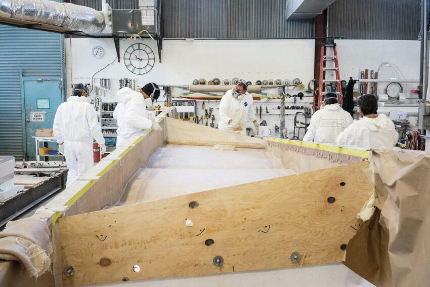 Inside Kreysler & Associates' workshop, the Fireshield 285 panels are formed in plywood molds.