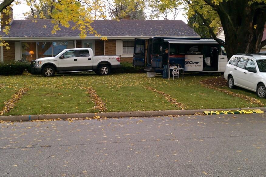 Lawn parking outside Lambeau Field