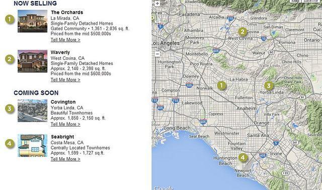 Brandywine Homes' Orange County, Calif., coverage area.