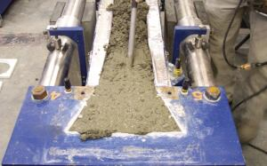 This cracking frame test measures the cracking susceptibility of the concrete mix.