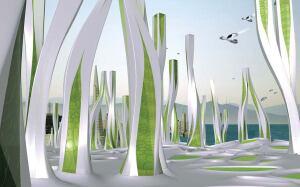 Vertical algae farms will produce hydrogen atoms that will power Iwamoto Scott Architecture's scheme for San Francisco circa 2108.