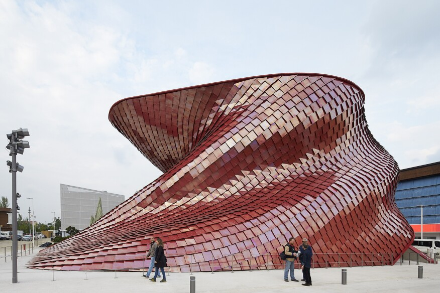The 40-foot-tall Vanke Pavilion by Studio Libeskind is covered with 4,200 tiles.