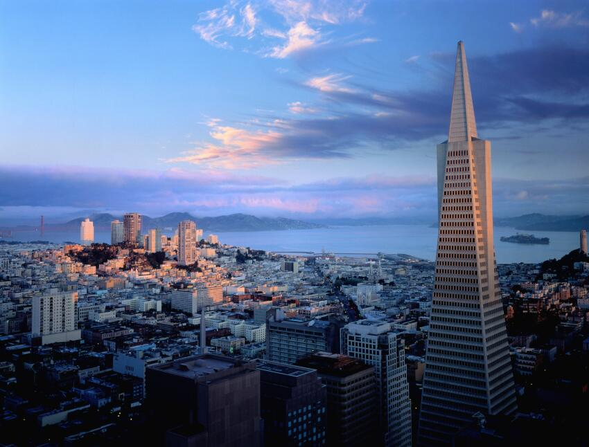 The Transamerica Pyramid in the San Francisco skyline.