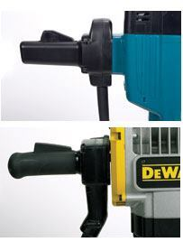 The large breakers have either a fixed side handle, like on the Makita above, or a pivoting handle, like on the DeWalt. Pivoting handles are the first line of defense against felt vibration, but we felt that the internal anti-vibration systems were more effective.