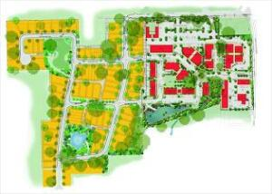 Evening Rose combines single-family homes (yellow) with pedestrian-friendly mixed-use development (red). Mixed-use areas include K-8 schools, live/work units, restaurants and retail, office space, and a child-care facility. Parks, gardens, and trails add to accessibility and community.