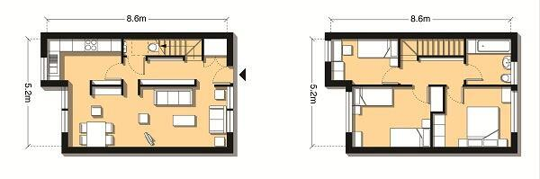 Plans for a 904-square-foot three-bedroom flat.