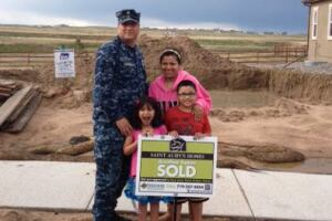 Proud buyers at Saint Aubyn Homes' Meridian Ranch community.