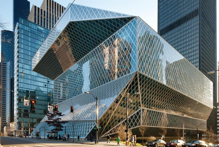 The Seattle Central Library, designed by OMA with LMN Architects, opened in 2004 amid glowing tributes from critics. Two million visitors enter its doors each year, a quarter of whom are tourists.