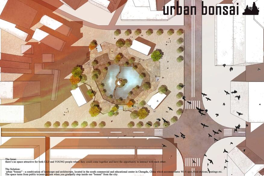 """""""Urban Bonsai"""" garden proposal for bridging generational gaps in China."""