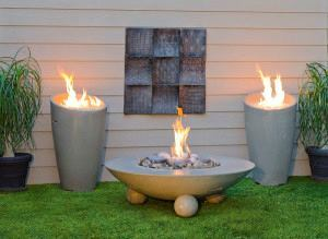 Fire tables create an instant gathering spot.