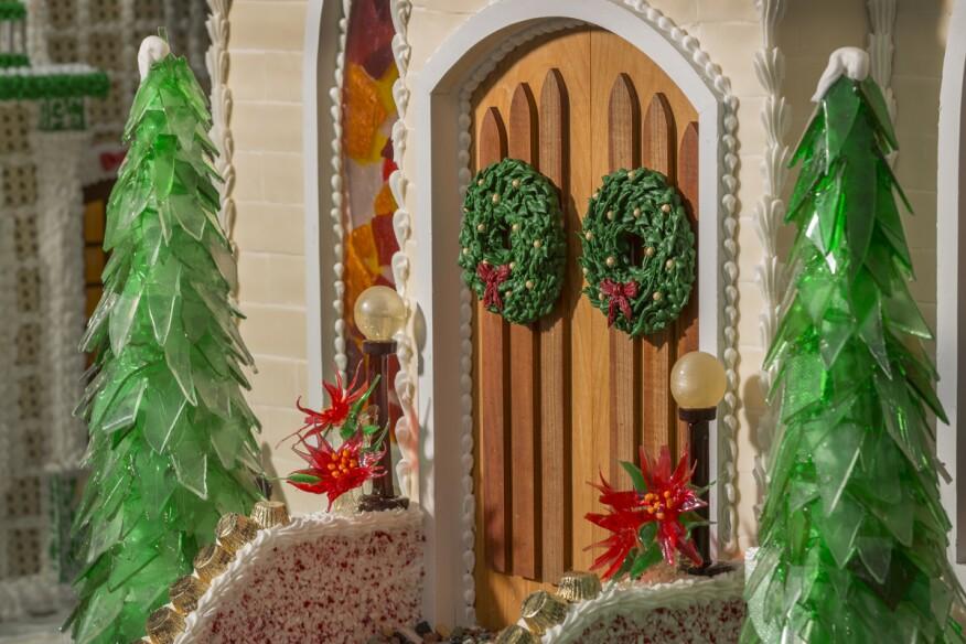 Wreath on church door detail.