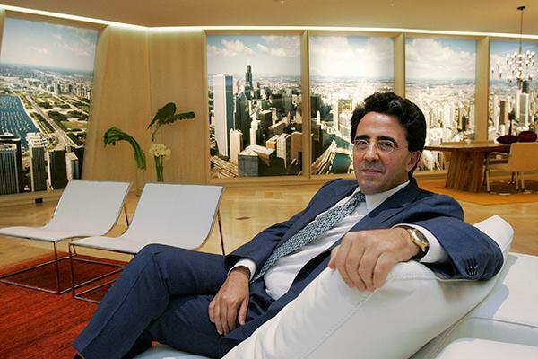 Santiago Calatrava in a model of a living room at the sales center of The Chicago Spire on Sept. 26, 2007.