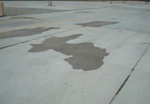 Water will collect on any concrete surface that is not sloped to drain.
