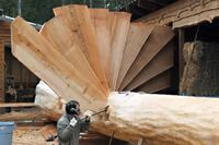 Big Stairs Made From A Douglas Fir Trunk