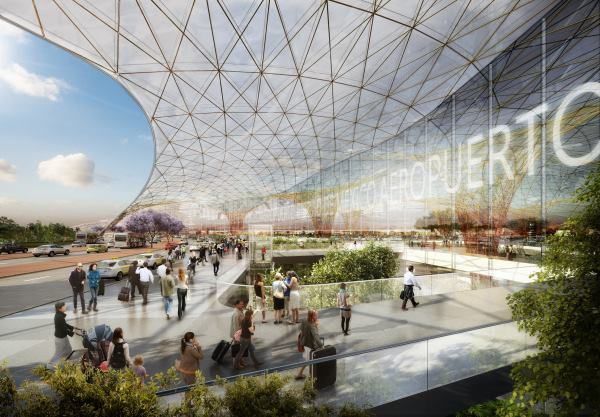 Interior rendering of Mexico City International Airport.