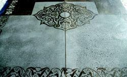 Bill Cooper brought together diamond polished concrete, intricate stenciling, chemical staining, and light sandblasting.