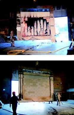 Wood frame (top) and concrete masonry walls (bottom) after fire test.