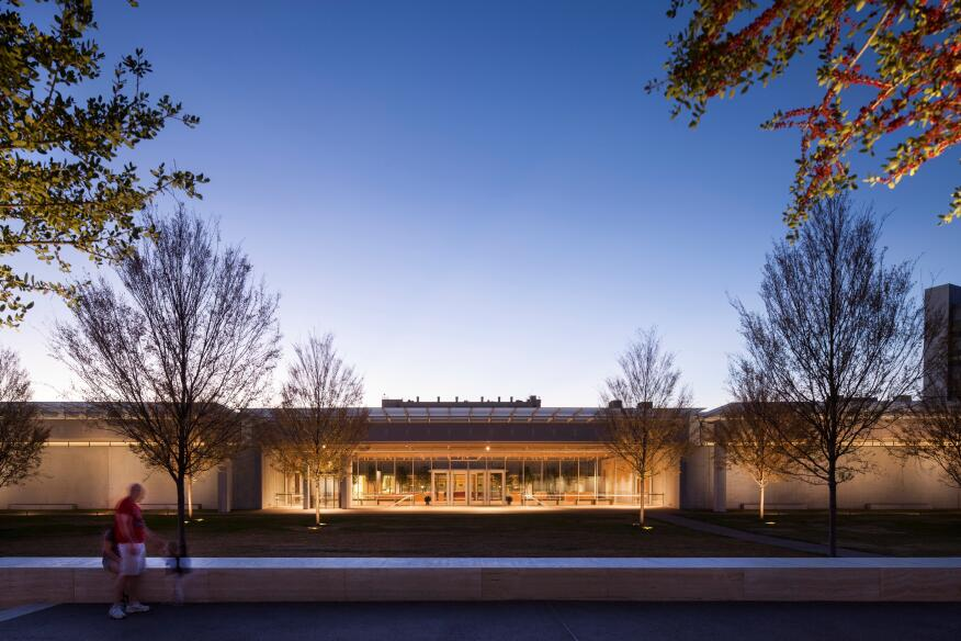 Renzo Piano Pavilion entrance, view at dusk.