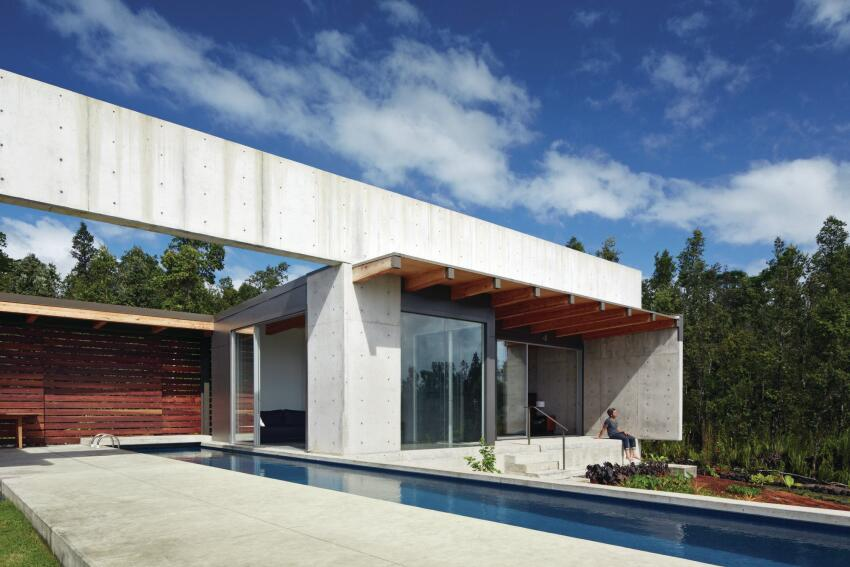 Though primarily based in San Francisco, Steely has spent the last decade designing a series of houses in Hawaii. The latest, Lavaflow 7, the Mayer/Penland House, is a cast-in-place concrete structure on a 5-acre site near the Ohia forest.