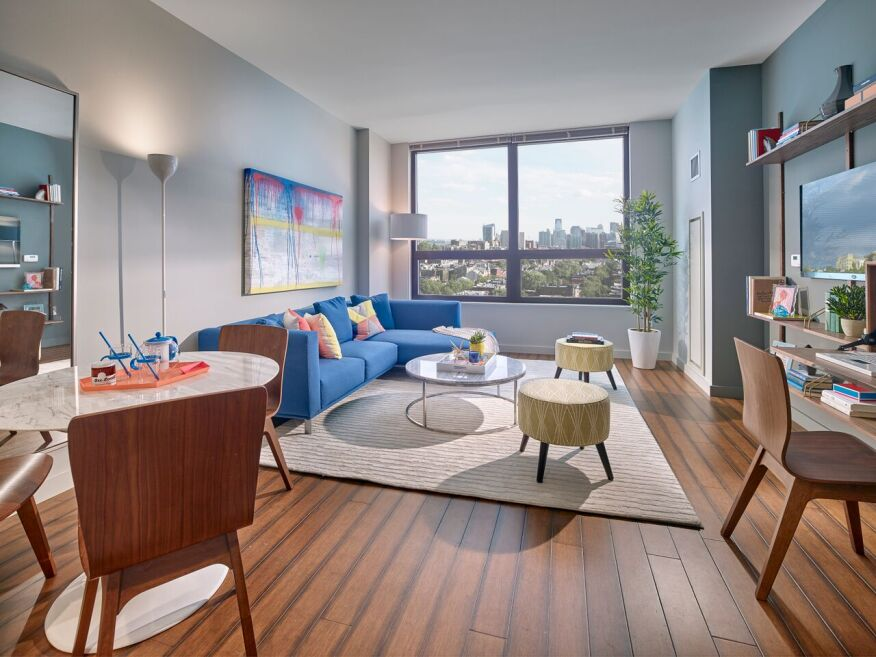Green features at the LEED Gold development include sustainable bamboo flooring throughout, recessed LED lighting, and oversized low-E windows.