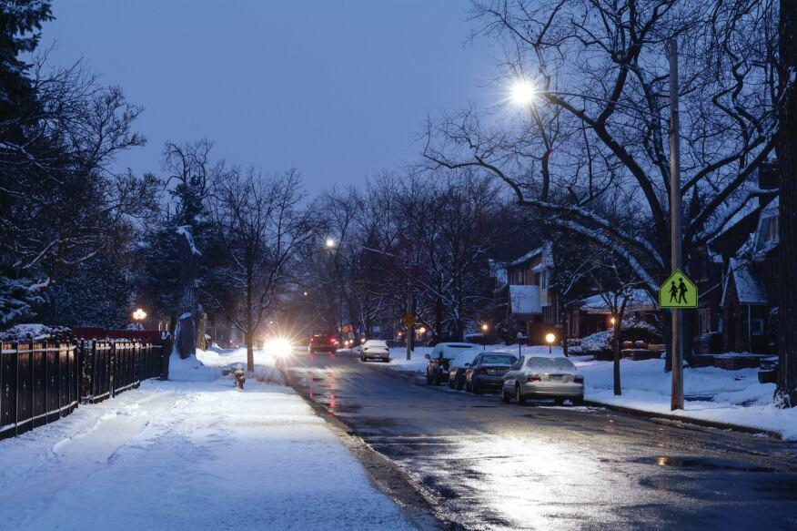 One of Detroit's residential neighborhoods with new LED streetlighting.