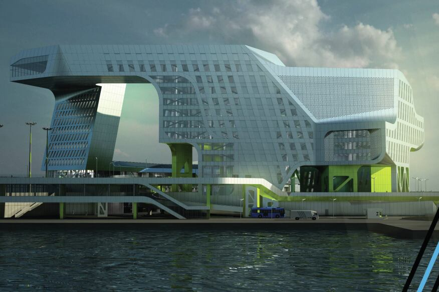 New Keelung Harbor Service Building, Keelung, Taiwan.
