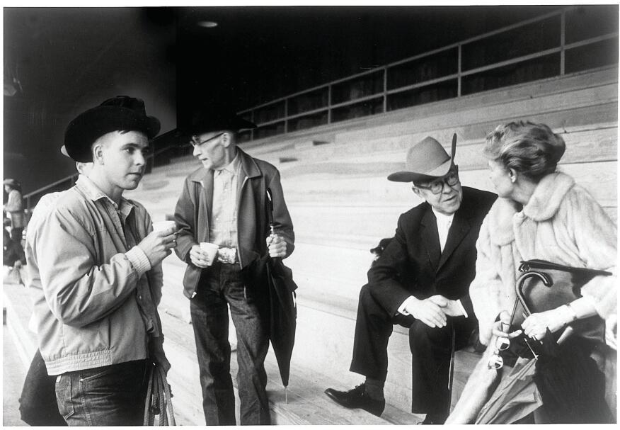 Dominique de Menil at a rodeo in Simonton, Texas, with René Magritte.