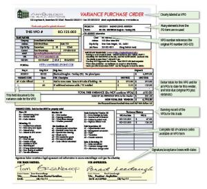 Variance purchase orders capture changes in budgeted job costs as they happen, allowing you to manage those changes while there is still time to protect your profit margin. The VPO form shown here is available for download in the Business Technology forum at jlconline.com.