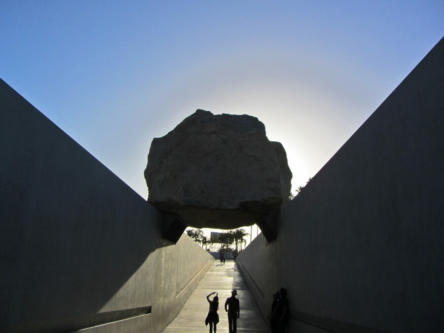 Levitated Mass, by Michael Heizer, at the Los Angeles County Museum of Contemporary Art.